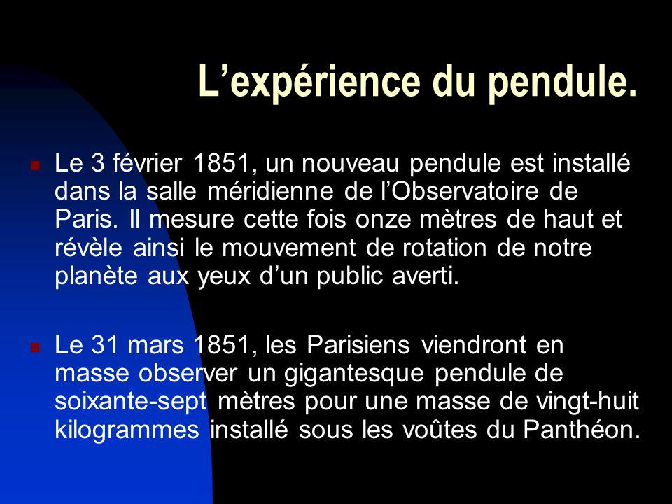 Lexpérience du pendule. Le 3 février 1851, un nouveau pendule est installé dans la salle méridienne de lObservatoire de Paris. Il mesure cette fois on
