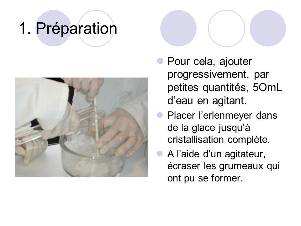 1. Préparation Pour cela, ajouter progressivement, par petites quantités, 5OmL deau en agitant. Placer lerlenmeyer dans de la glace jusquà cristallisa