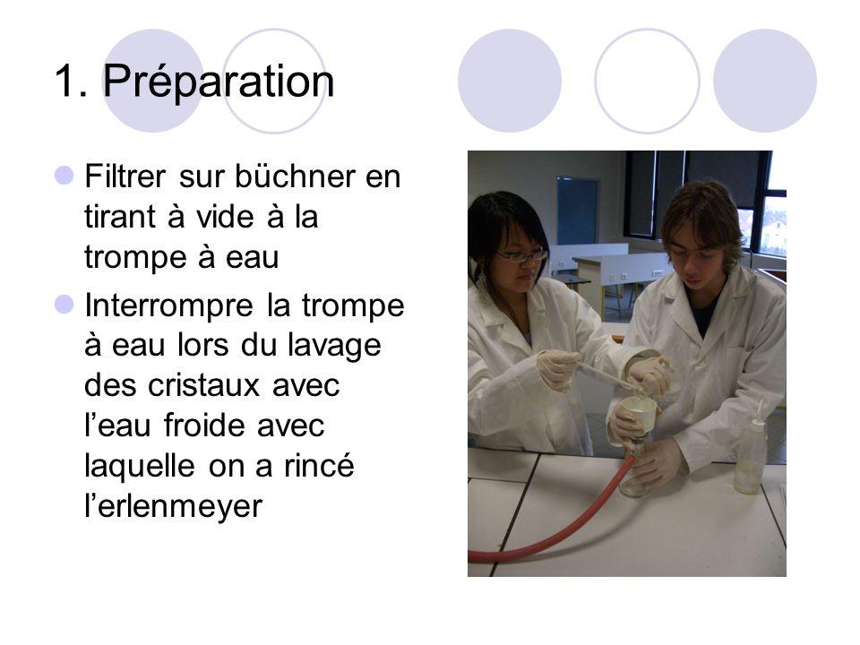 1. Préparation Filtrer sur büchner en tirant à vide à la trompe à eau Interrompre la trompe à eau lors du lavage des cristaux avec leau froide avec la