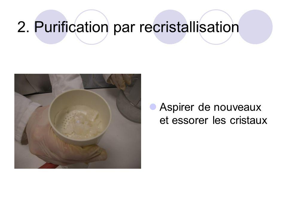 2. Purification par recristallisation Aspirer de nouveaux et essorer les cristaux