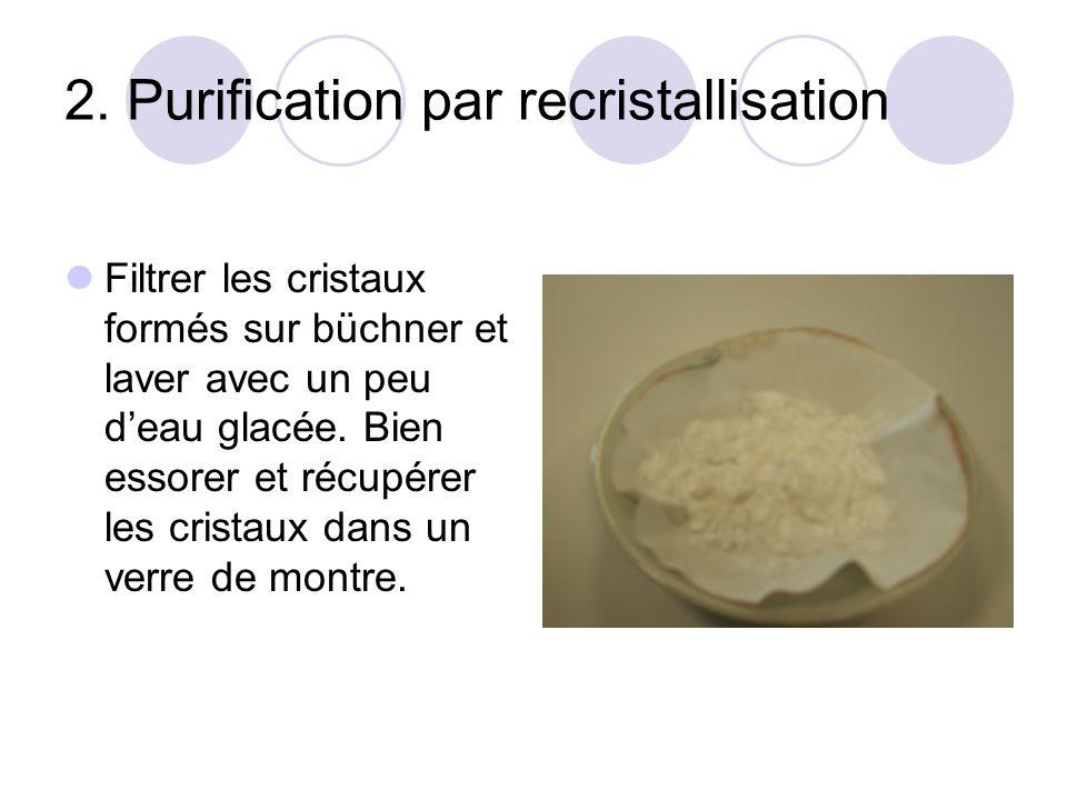2. Purification par recristallisation Filtrer les cristaux formés sur büchner et laver avec un peu deau glacée. Bien essorer et récupérer les cristaux