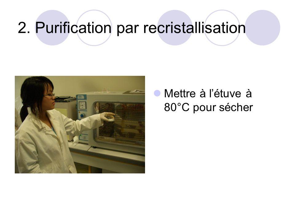 2. Purification par recristallisation Mettre à létuve à 80°C pour sécher