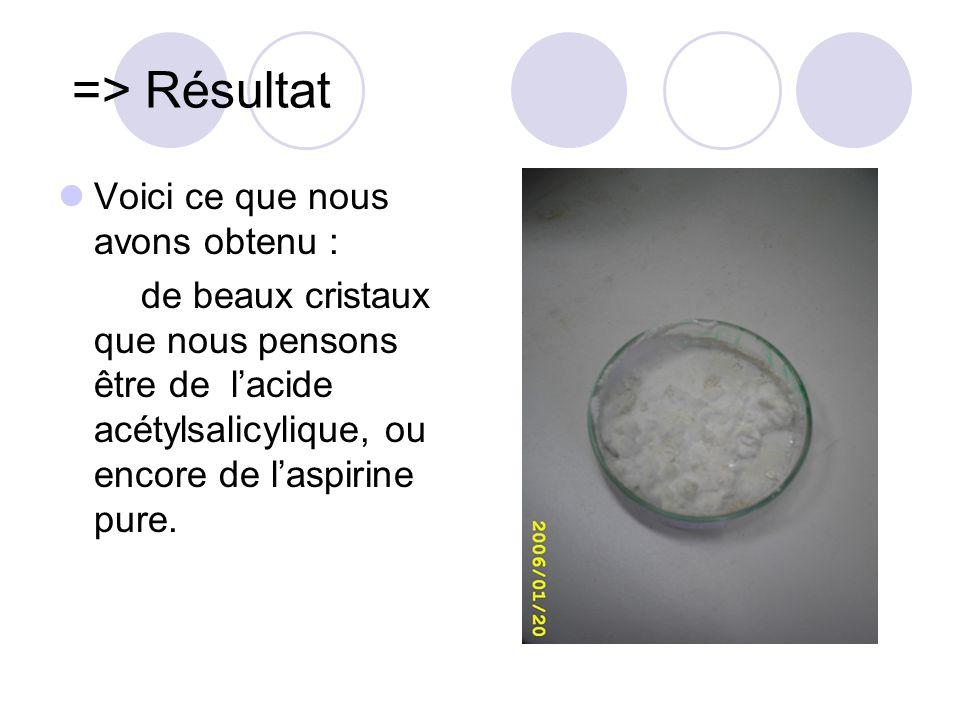 => Résultat Voici ce que nous avons obtenu : de beaux cristaux que nous pensons être de lacide acétylsalicylique, ou encore de laspirine pure.