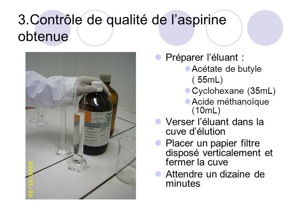 3.Contrôle de qualité de laspirine obtenue Préparer léluant : Acétate de butyle ( 55mL) Cyclohexane (35mL) Acide méthanoïque (10mL) Verser léluant dan