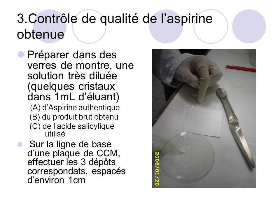 3.Contrôle de qualité de laspirine obtenue Préparer dans des verres de montre, une solution très diluée (quelques cristaux dans 1mL déluant) (A) dAspi