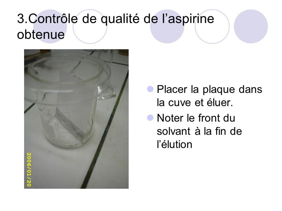 3.Contrôle de qualité de laspirine obtenue Placer la plaque dans la cuve et éluer. Noter le front du solvant à la fin de lélution