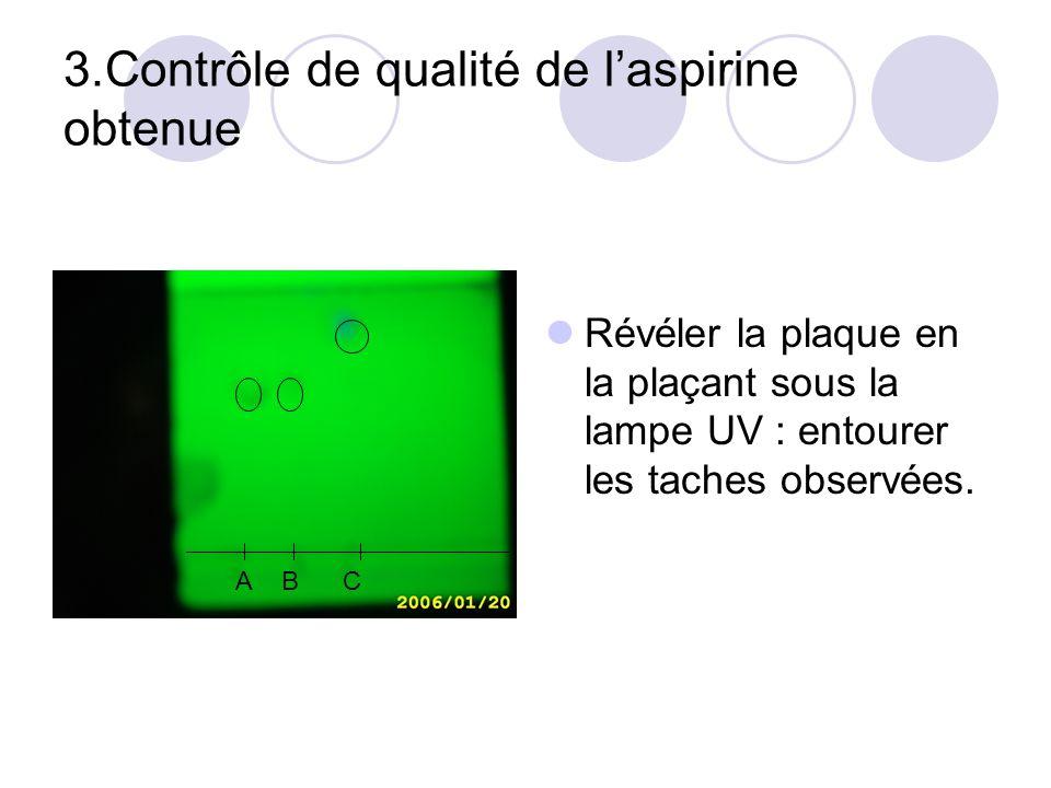 3.Contrôle de qualité de laspirine obtenue Révéler la plaque en la plaçant sous la lampe UV : entourer les taches observées. ABC A B C