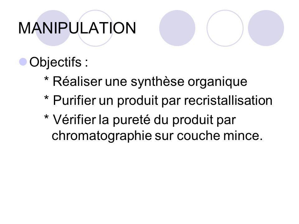 MANIPULATION Objectifs : * Réaliser une synthèse organique * Purifier un produit par recristallisation * Vérifier la pureté du produit par chromatogra