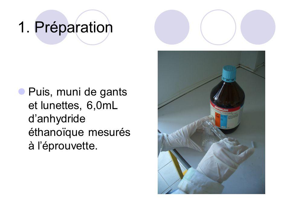 1. Préparation Puis, muni de gants et lunettes, 6,0mL danhydride éthanoïque mesurés à léprouvette.