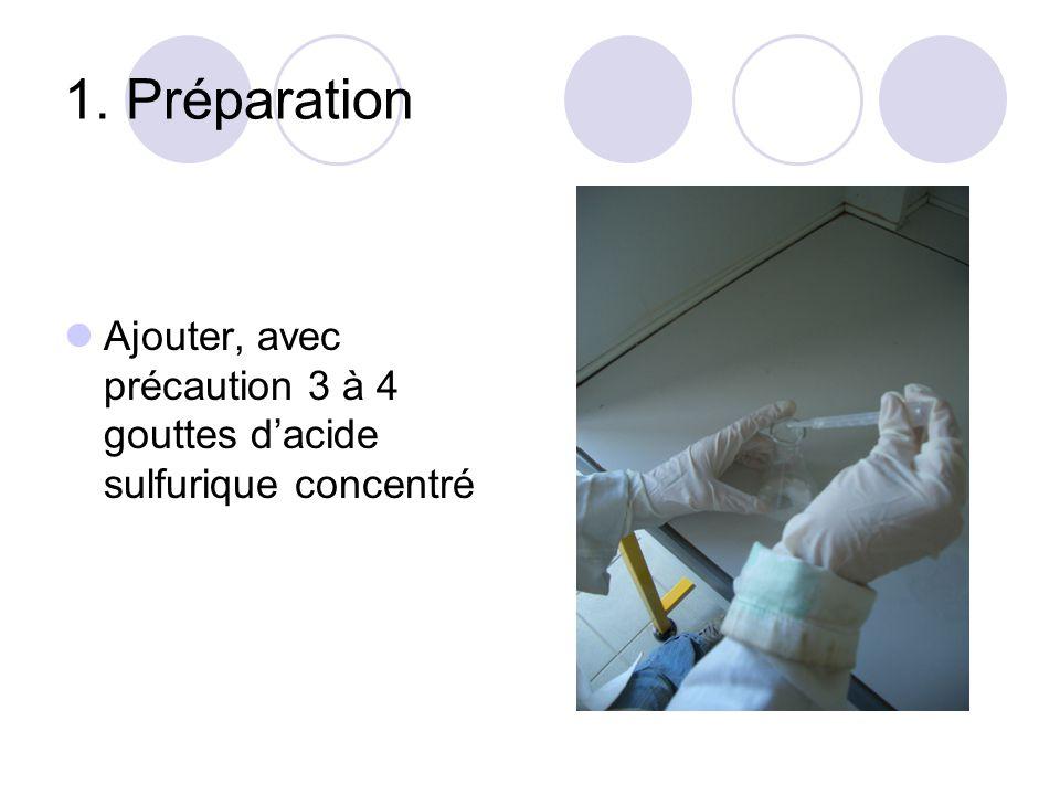 1. Préparation Ajouter, avec précaution 3 à 4 gouttes dacide sulfurique concentré