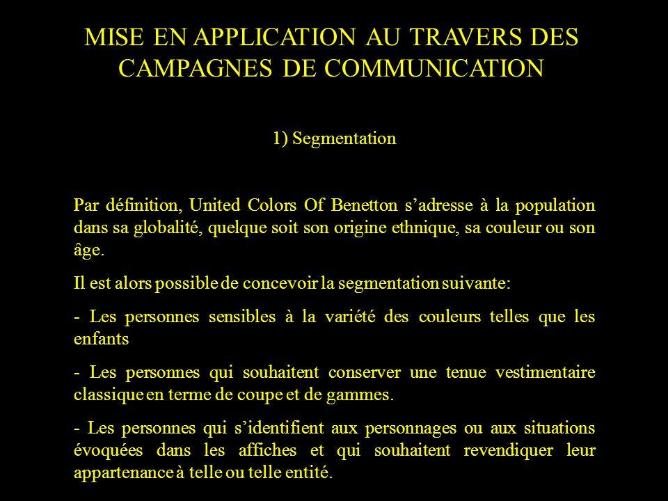 MISE EN APPLICATION AU TRAVERS DES CAMPAGNES DE COMMUNICATION 1) Segmentation Par définition, United Colors Of Benetton sadresse à la population dans