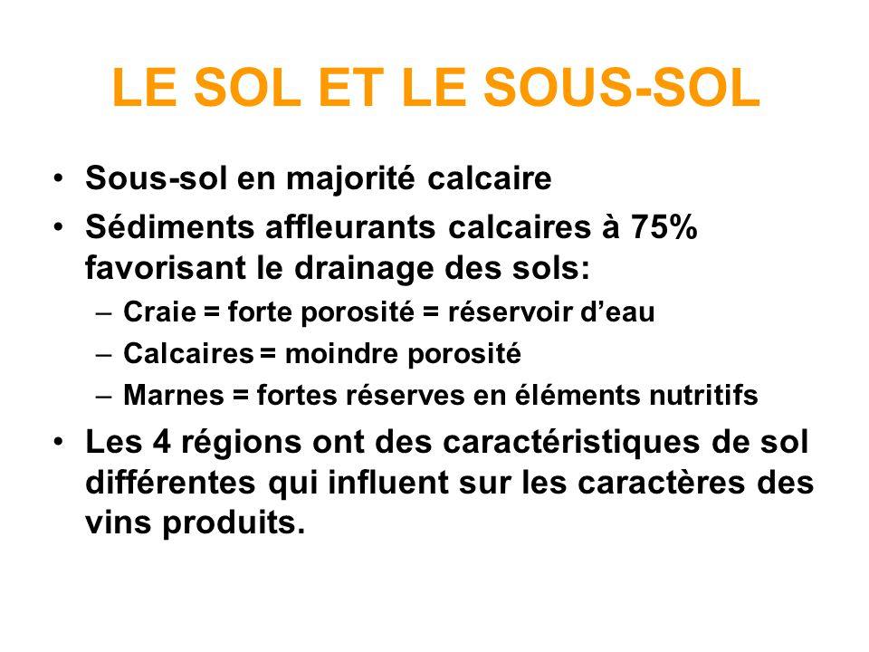 LE SOL ET LE SOUS-SOL Sous-sol en majorité calcaire Sédiments affleurants calcaires à 75% favorisant le drainage des sols: –Craie = forte porosité = r