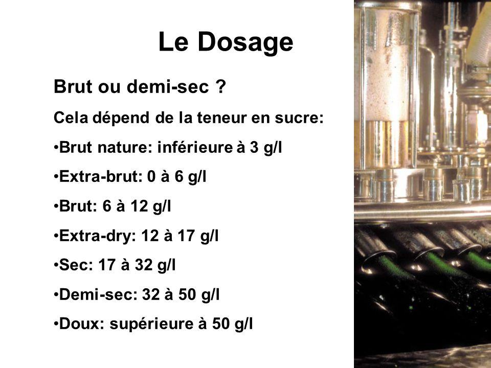 Brut ou demi-sec ? Cela dépend de la teneur en sucre: Brut nature: inférieure à 3 g/l Extra-brut: 0 à 6 g/l Brut: 6 à 12 g/l Extra-dry: 12 à 17 g/l Se