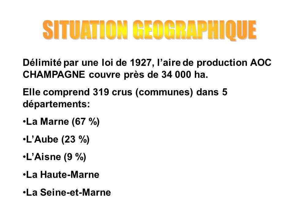 Délimité par une loi de 1927, laire de production AOC CHAMPAGNE couvre près de 34 000 ha. Elle comprend 319 crus (communes) dans 5 départements: La Ma
