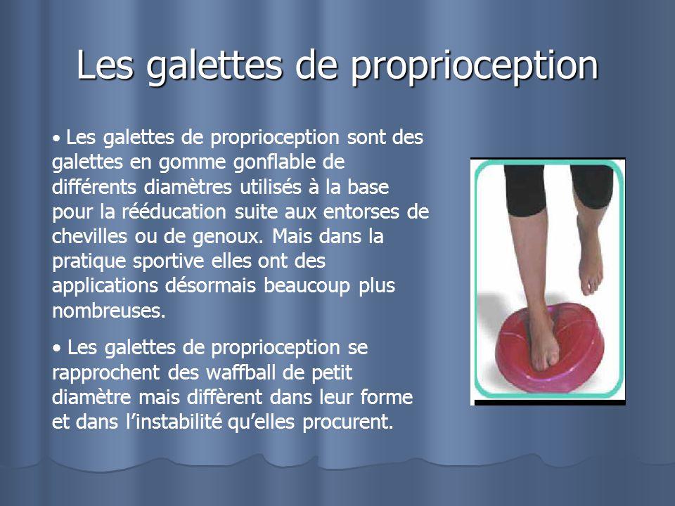 Les galettes de proprioception Les galettes de proprioception sont des galettes en gomme gonflable de différents diamètres utilisés à la base pour la