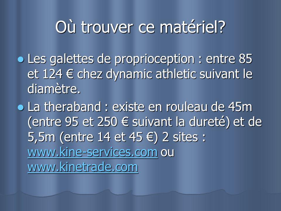 Où trouver ce matériel? Les galettes de proprioception : entre 85 et 124 chez dynamic athletic suivant le diamètre. Les galettes de proprioception : e