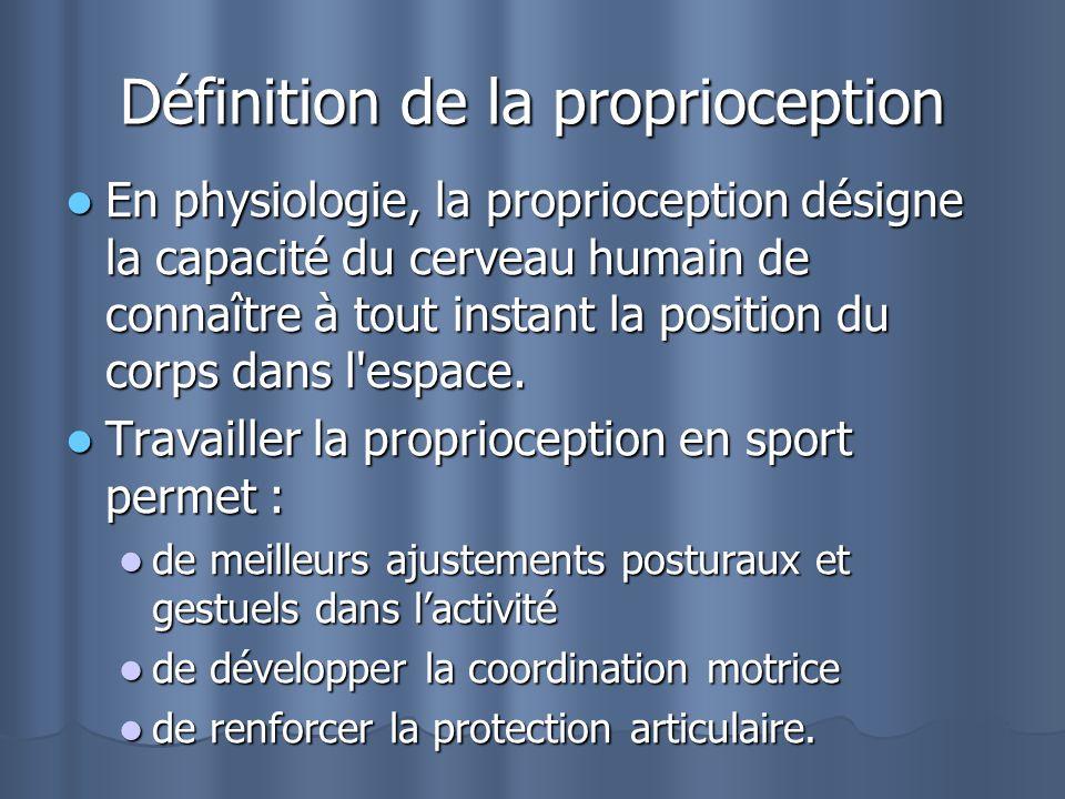 Définition de la proprioception En physiologie, la proprioception désigne la capacité du cerveau humain de connaître à tout instant la position du cor