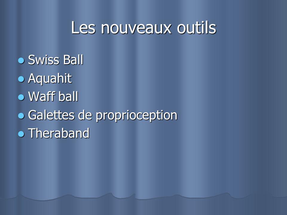 Les nouveaux outils Swiss Ball Swiss Ball Aquahit Aquahit Waff ball Waff ball Galettes de proprioception Galettes de proprioception Theraband Theraban
