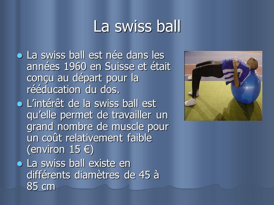 La swiss ball La swiss ball est née dans les années 1960 en Suisse et était conçu au départ pour la rééducation du dos. La swiss ball est née dans les