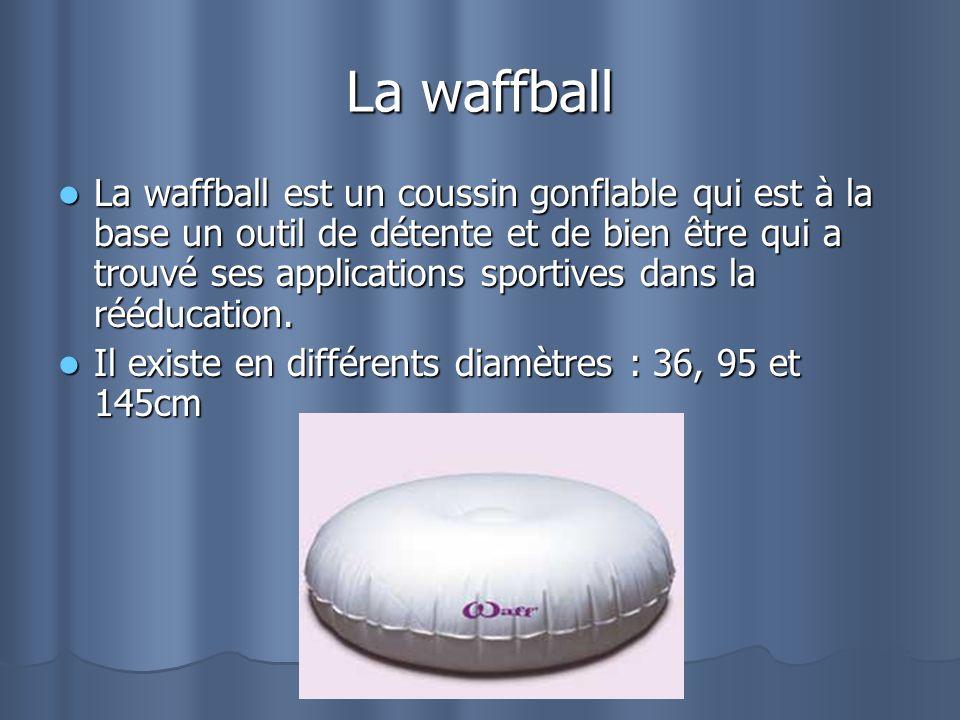 La waffball La waffball est un coussin gonflable qui est à la base un outil de détente et de bien être qui a trouvé ses applications sportives dans la