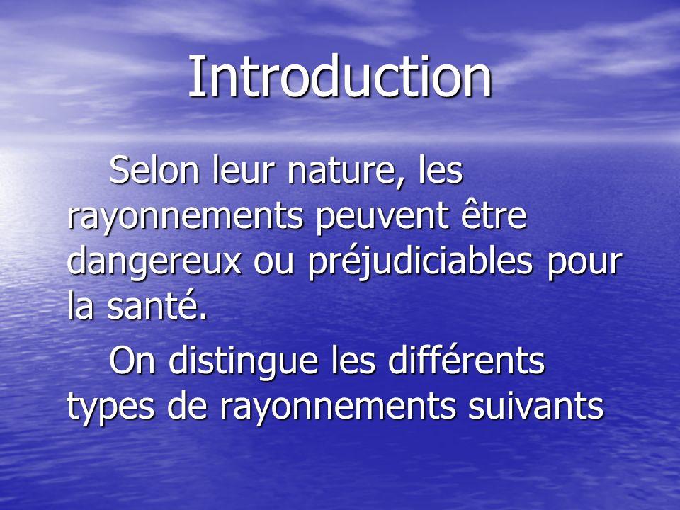 Introduction Selon leur nature, les rayonnements peuvent être dangereux ou préjudiciables pour la santé. Selon leur nature, les rayonnements peuvent ê