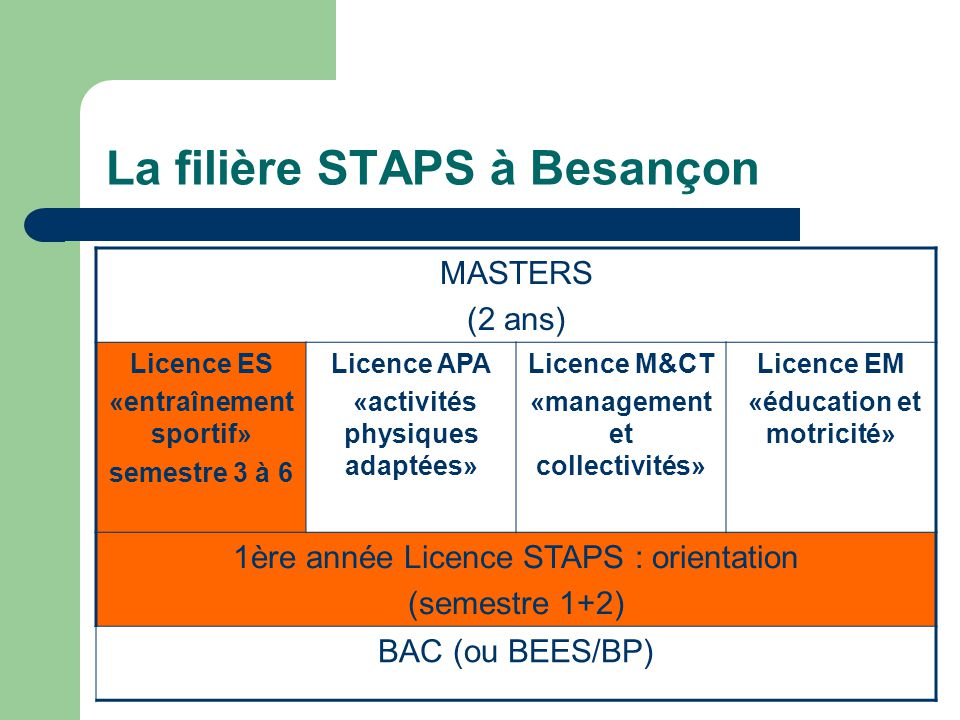 La filière STAPS à Besançon MASTERS (2 ans) Licence ES «entraînement sportif» semestre 3 à 6 Licence APA «activités physiques adaptées» Licence M&CT «