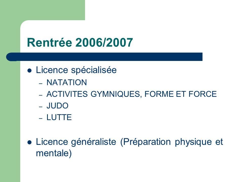 Rentrée 2006/2007 Licence spécialisée – NATATION – ACTIVITES GYMNIQUES, FORME ET FORCE – JUDO – LUTTE Licence généraliste (Préparation physique et men