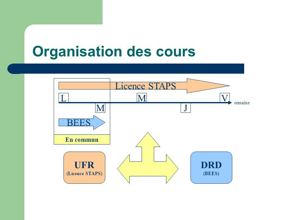 Organisation des cours UFR (Licence STAPS) DRD (BEES) L M M J V Licence STAPS BEES En commun semaine
