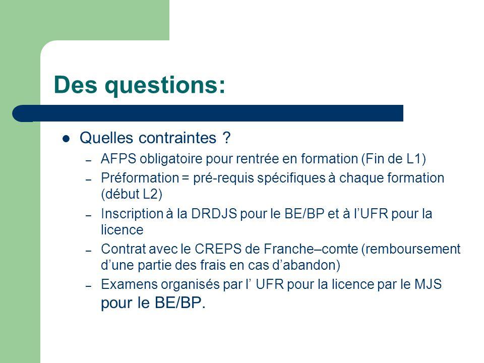 Des questions: Quelles contraintes ? – AFPS obligatoire pour rentrée en formation (Fin de L1) – Préformation = pré-requis spécifiques à chaque formati