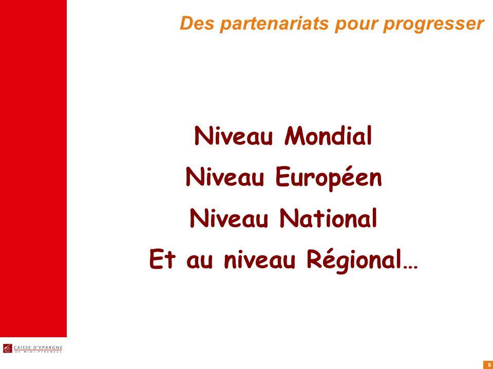 6 Des partenariats pour progresser Niveau Mondial Niveau Européen Niveau National Et au niveau Régional…