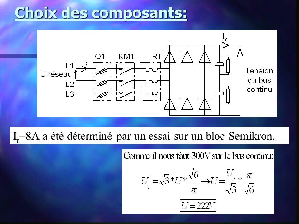 Choix des composants: I r =8A a été déterminé par un essai sur un bloc Semikron.