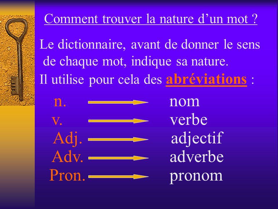 Nature ou fonction dun mot Tous les mots se définissent par leur nature (qui sert à les classer ) ou leur fonction (leur rôle dans le groupe de mots o