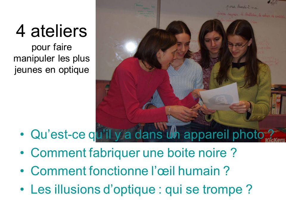 4 ateliers pour faire manipuler les plus jeunes en optique Quest-ce quil y a dans un appareil photo ? Comment fabriquer une boite noire ? Comment fonc