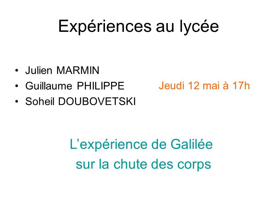 Expériences au lycée Julien MARMIN Guillaume PHILIPPE Soheil DOUBOVETSKI Lexpérience de Galilée sur la chute des corps Jeudi 12 mai à 17h