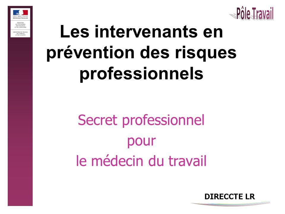 Les intervenants en prévention des risques professionnels Secret professionnel pour le médecin du travail