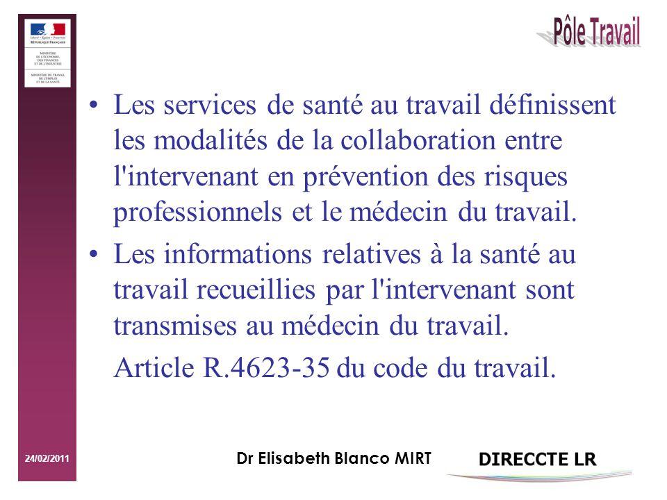 24/02/2011 Dr Elisabeth Blanco MIRT Les services de santé au travail définissent les modalités de la collaboration entre l intervenant en prévention des risques professionnels et le médecin du travail.