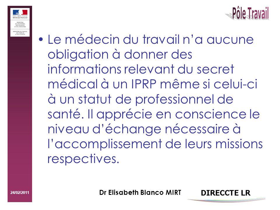 24/02/2011 Dr Elisabeth Blanco MIRT Le médecin du travail na aucune obligation à donner des informations relevant du secret médical à un IPRP même si celui-ci à un statut de professionnel de santé.