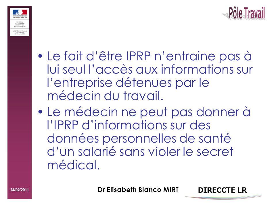 24/02/2011 Dr Elisabeth Blanco MIRT Le fait dêtre IPRP nentraine pas à lui seul laccès aux informations sur lentreprise détenues par le médecin du travail.