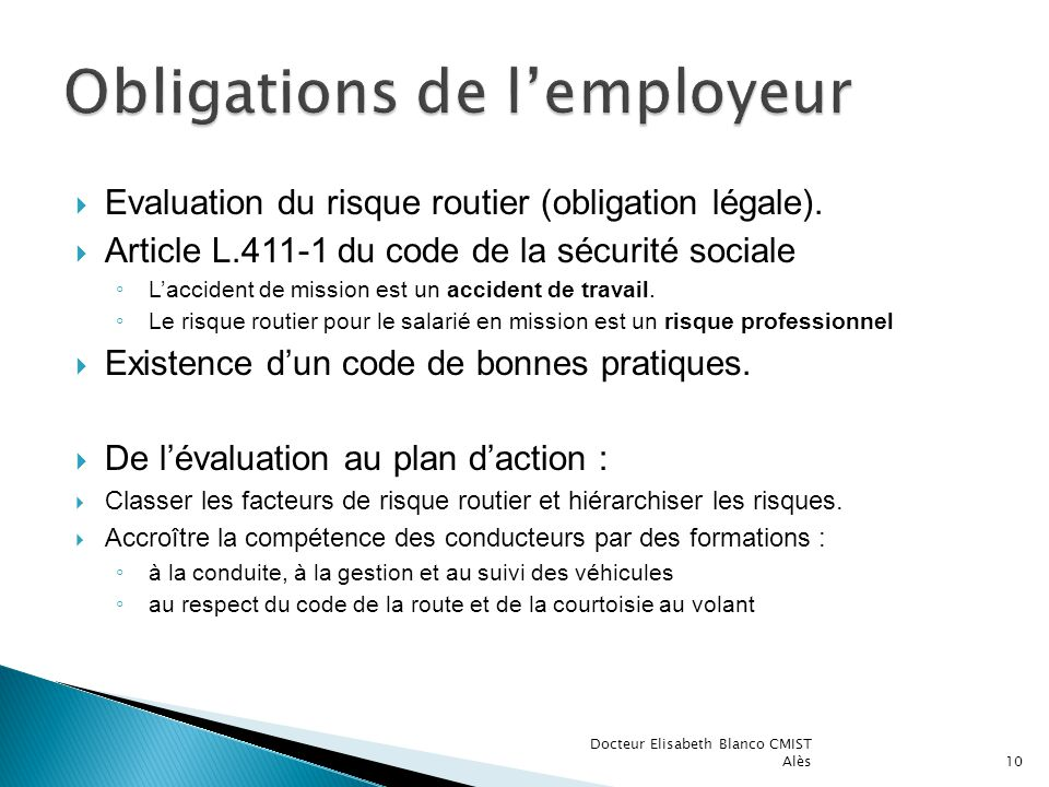 Evaluation du risque routier (obligation légale).