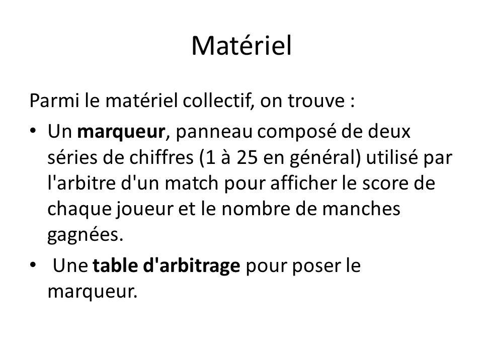 Matériel Parmi le matériel collectif, on trouve : Un marqueur, panneau composé de deux séries de chiffres (1 à 25 en général) utilisé par l arbitre d un match pour afficher le score de chaque joueur et le nombre de manches gagnées.