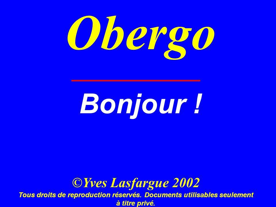 Obergo Bonjour ! ©Yves Lasfargue 2002 Tous droits de reproduction réservés. Documents utilisables seulement à titre privé.