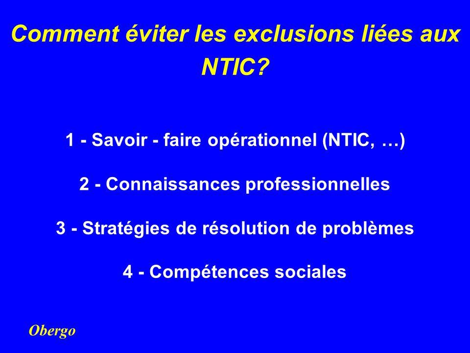 Obergo Comment éviter les exclusions liées aux NTIC? 1 - Savoir - faire opérationnel (NTIC, …) 2 - Connaissances professionnelles 3 - Stratégies de ré