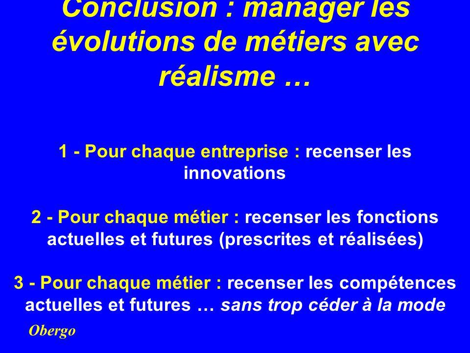 Obergo Conclusion : manager les évolutions de métiers avec réalisme … 1 - Pour chaque entreprise : recenser les innovations 2 - Pour chaque métier : r