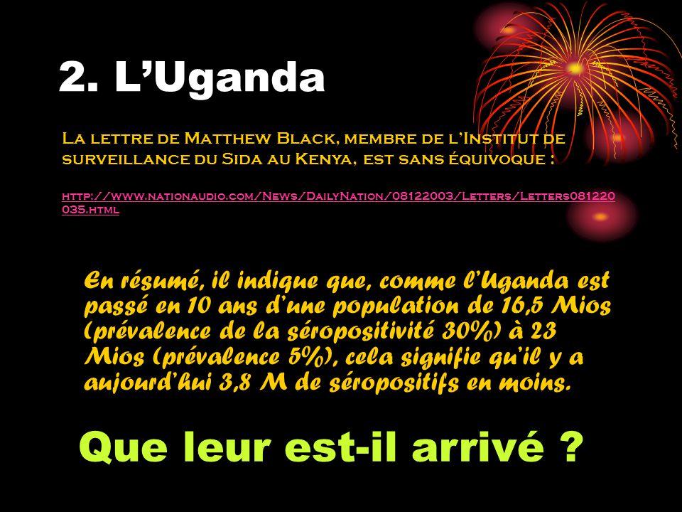 2. LUganda En résumé, il indique que, comme lUganda est passé en 10 ans dune population de 16,5 Mios (prévalence de la séropositivité 30%) à 23 Mios (