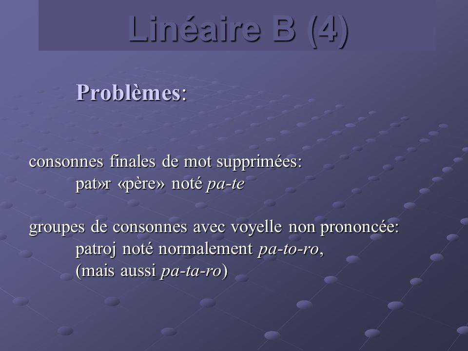 Linéaire B (4) Problèmes: consonnes finales de mot supprimées: pat»r «père» noté pa-te pat»r «père» noté pa-te groupes de consonnes avec voyelle non p