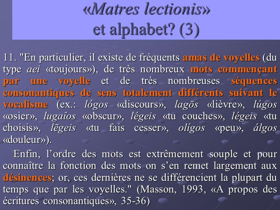 «Matres lectionis» et alphabet? (3) 11.