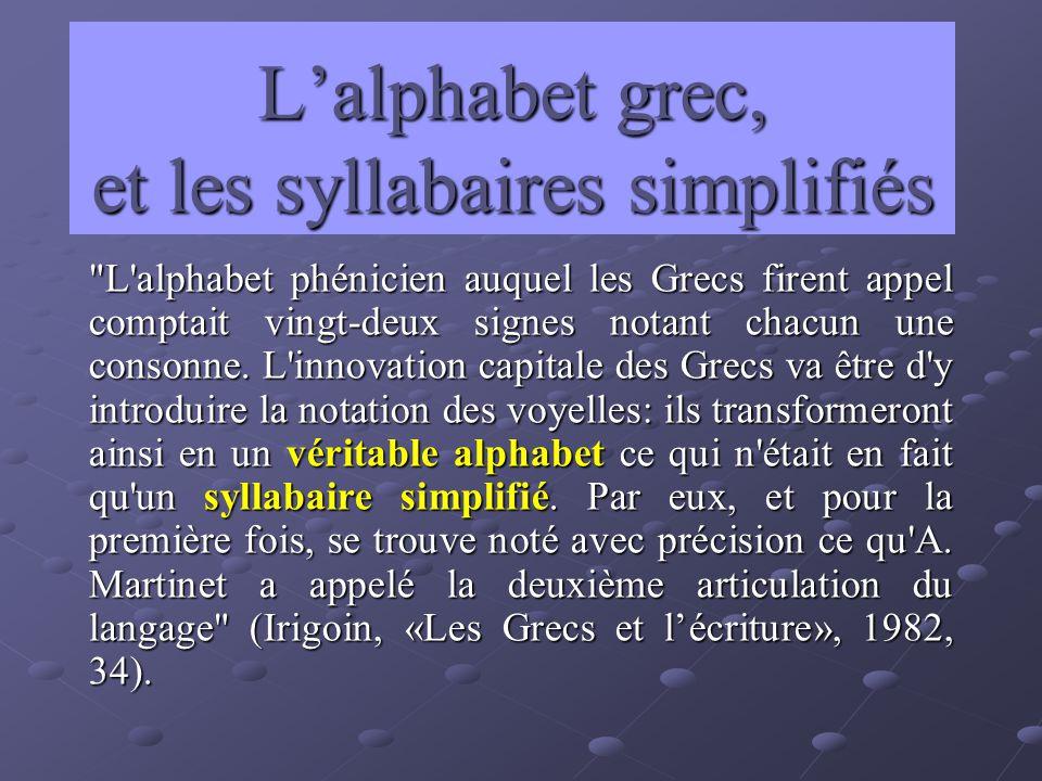 Lalphabet grec, et les syllabaires simplifiés