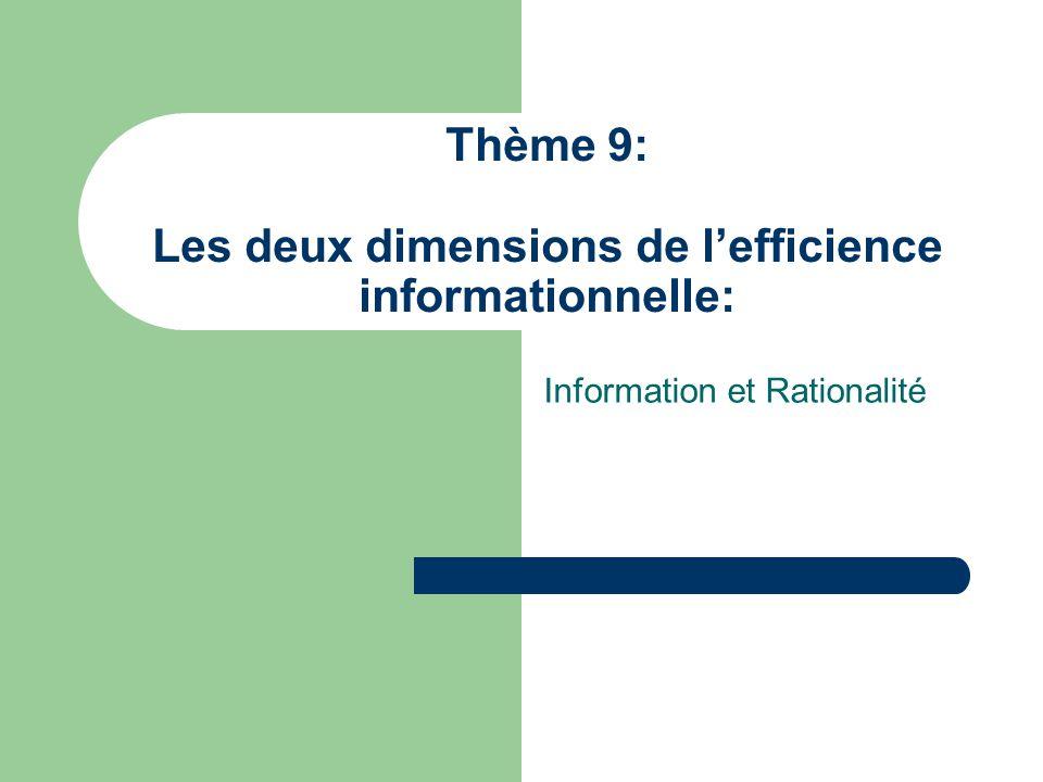 Thème 9: Les deux dimensions de lefficience informationnelle: Information et Rationalité