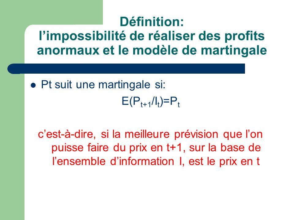 Définition: limpossibilité de réaliser des profits anormaux et le modèle de martingale Pt suit une martingale si: E(P t+1 /I t )=P t cest-à-dire, si l