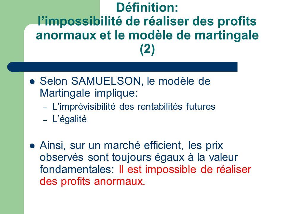 Définition: limpossibilité de réaliser des profits anormaux et le modèle de martingale (2) Selon SAMUELSON, le modèle de Martingale implique: – Limpré